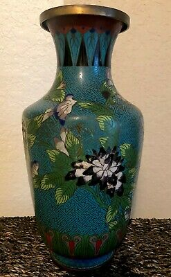 Fine Old Antique Chinese Cloisonne Enamel over Brass Vase w/Flowers Tree