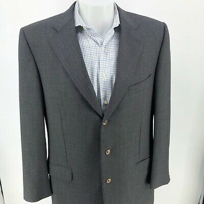 Ermenegildo Zegna Neiman Marcus Mens 3 Button Charcoal Wool Blazer Jacket US 48