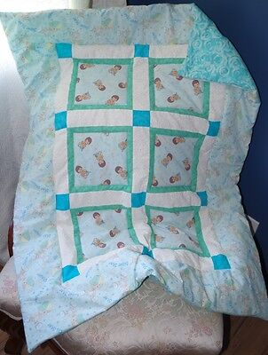 Handmade Patchwork Precious Moments Boy Baby Quilt Cotton Blanket Unique NEW