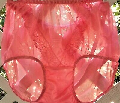 Tutti~Fruity V-Lace See-Thru Acetate Sheer Unlined Crotch Granny Panty Brief M/L