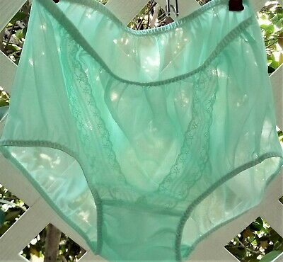 Mint Green V-Lace See-Thru Acetate Sheer Unlined Crotch Granny Panty Brief M/L