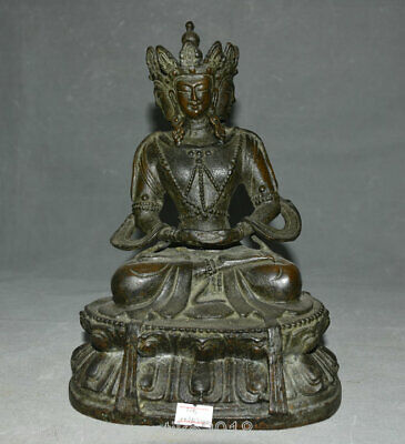 "10.4"" Old Tibet Red Copper Bronze Seat 3 Face Kwan-yin Guan Yin Goddess Statue"