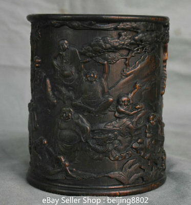 "6"" Old Chinese Wood Hand Carved Arhat Rohan Luohan Buddha Brush Pot Pencil Vase"