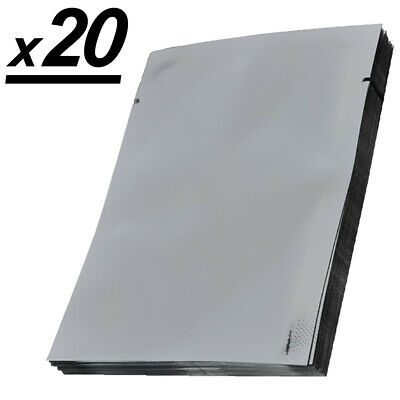 20 Silver 8x12cm Mylar Bags, Open-Top Smell Proof Vacuum Seal Long Term Storage