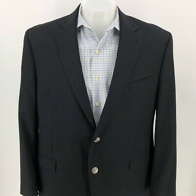 $295 Michael Kors Mens Black Silver Button Wool Blazer Sport Coat 46R Excellent