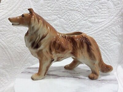 Stunning Vintage Large Sable Collie Planter Statue 11 1/2 x 8 tall  Please Read