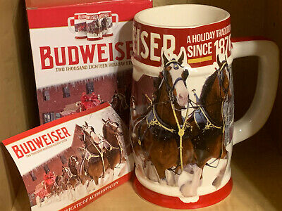 AUTHENTIC 2018 Bud Budweiser Anheuser Busch Holiday Christmas Stein