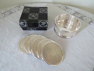 Boxed Strachan Silver Plated Bottle Coaster +  6 matching Tumbler Coasters....