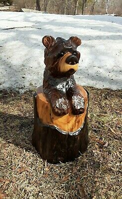 Brown Bear n/Stump Chainsaw Carved Wood Carving Sculpture Rustic Garden Decor