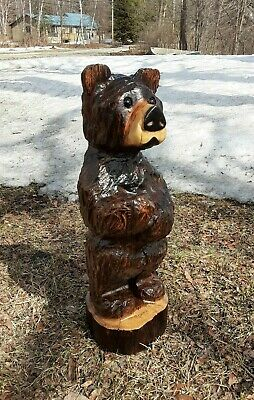 Brown Bear Cub Chainsaw Carved Wood Carving Art Sculpture Rustic Garden Decor