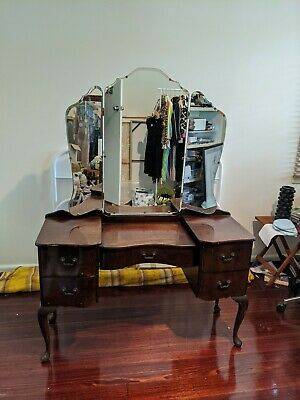 Antique Original Queen Anne Dresser with Mirrors