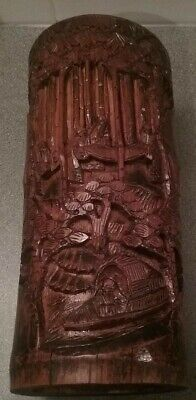 """Antique Oriental Carved Bamboo 11"""" Brush Pot"""