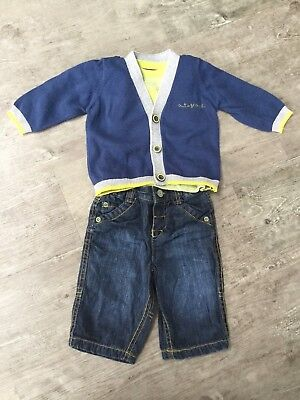 M&S Baby Boys Up To 0-3 Months Jeans T-Shirt Cardigan Set Marks And Spencer