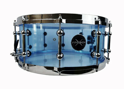 """Seamless 14""""x6"""" Fluorescent Blue Acrylic Acoustic Snare Drum"""