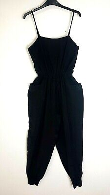 See by Chloe Jumpsuit Size UK 18 Strappy Silk Gathered Waist and Ankles Black