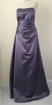 Victorian Lilac Purple Strapless Satin Alfred Angelo Bridesmaid Prom Dress - 16