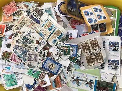 500 grams World Foreign Stamps - On Paper KILOWARE No GB (Some off Paper)