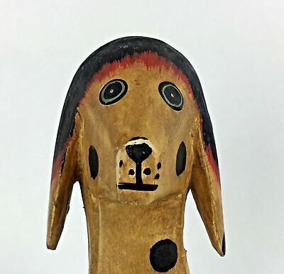 Handmade Vintage Wooden Toy Dog Painted Articulated Spots Wood Animal Décor Gift