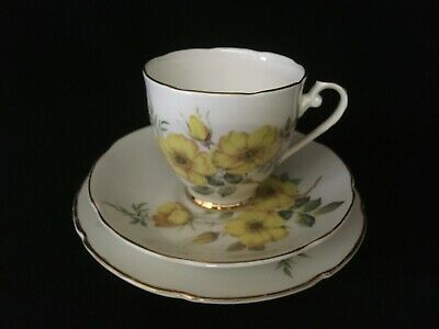 Royal Grafton Cup, Saucer and Tea Plate. 50's/60's Yellow Rose design