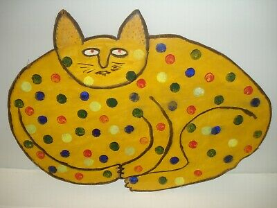 Hand Crafted Wooden Decorative Folk Art, Polka Dotted Cat, signed
