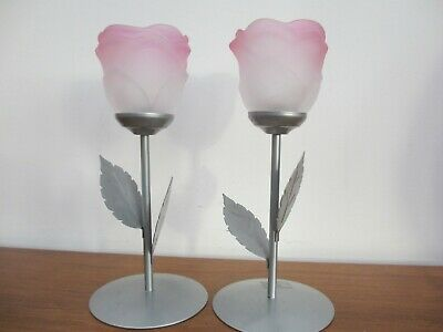 PAIR FLOWER CANDLE STICK METAL and GLASS Tea Light Candle Holders Elegant x2