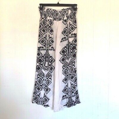Free People Pants Sahara Women's XS Ivory Black Wide Leg Lightweight Boho Sheer