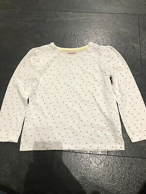 F&F Age 4-5 Girls White Long Sleeve Top White Grey Spots