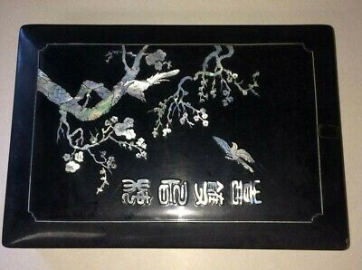 """Vintage Chinese Lacquer Trinket Box Inlaid Mother of Pearl 12""""x8.5""""x2.75"""""""