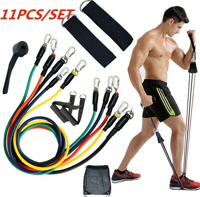 Resistance Bands Workout Exercise Yoga 11 Piece Set Crossfit Fitness Tubes *Uk*