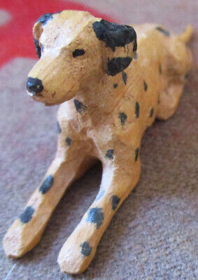 Vintage Hand Carved & Painted Figural Sitting Wooden Dalmation Dog