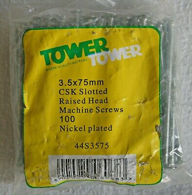 Pack of 100 Tower 3.5mm x 75mm CSK Slotted Machine Screws Switch Sockets 44S3575