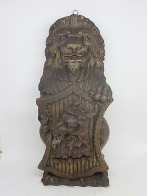 RARE! Carved 17th C Style British Victorian Carved Oak Heraldic Lion Goat Shield
