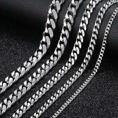 """18""""-36"""" Stainless Steel Silver/Gold Tone Chain Cuban Curb Mens Necklace 3/5/7mm"""