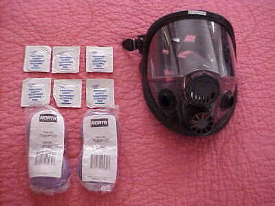 North Full Face Mask Respirator 76008A M/L With 4 New Replacement Cartridges