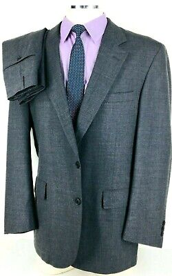43R Brooks Brothers Mens 2 Button 100% Wool Suit Slate Gray Pants 38 Exc!