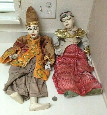 """Antique 19th C. Wood Carved Orient Asian Puppet Marionettes Pair - 24"""""""