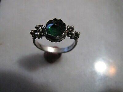 Antique Silver Filigree Byzantine  Ring With Green  Glass Stone .