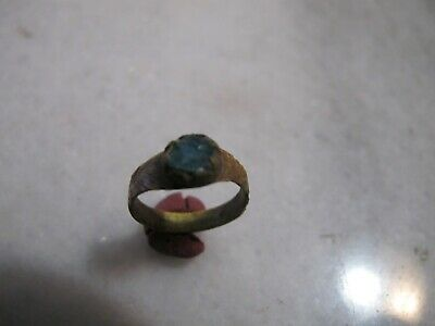 Antique Bronze Byzantine  Ring With Blue Glass Stone .