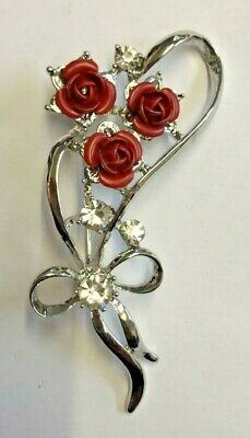 Simply ELEGANT Art Deco ROSE Flower with Crystals SILVER Plated Brooch.