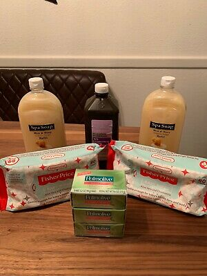 (2) Spa Soap, Palmolive Soap 3pk, Hydrogen Peroxide, (2)Fisher Price Baby Wipes