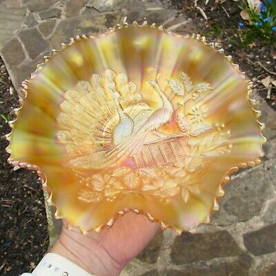 NORTHWOOD PEACOCKS FENCE ANTIQUE CARNIVAL GLASS Bowl MARIGOLD w YELLOW IRID! WOW