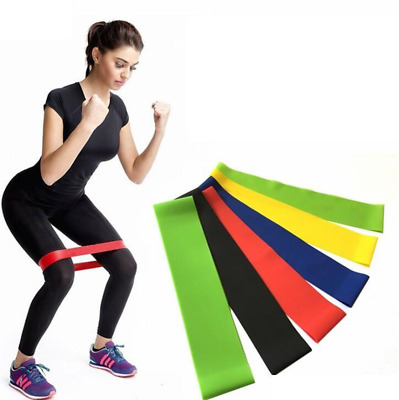 Set of 5 Resistance Bands Loop Singles Home Workout Glutes Yoga Pilates Gym Fit