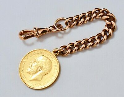 Investors 1919P Australian Gold Sovereign With Antique 9Kt Rose Gold Fob Chain