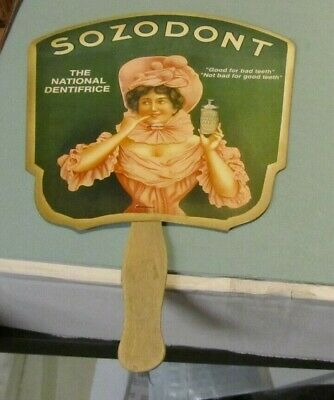 "Antique Sozodont Tooth Powder The National Dentifrice 11"" Dental Advertising Fan"