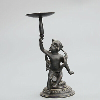 Collectable Antique Bronze Hand-Carved Lovely Angel Statue Delicate Candlestick