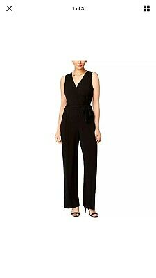 NY Collection Womens Black Sleeveless Velvet Jumpsuit Petites PXS