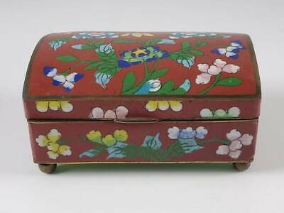 Antique Chinese Red Cloisonne Covered Box W/ Flowers And Leaves, Signed