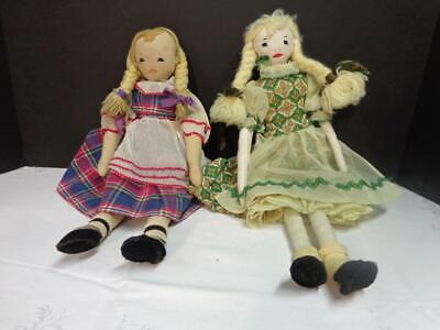 "Pair of Antique/Vintage Hand Made Cloth Dolls 15""  MUST SEE Pictures"