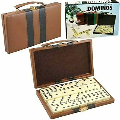 Double Six Dominoes Set of 28 Metal Spinners in Deluxe Travel Case with Handles