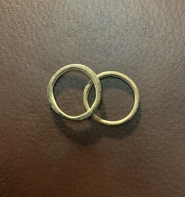 NICE! 2 ANCIENT AE Bronze CELTIC PROTO TYPE Ring MONEY Currency 500BC 3.5g